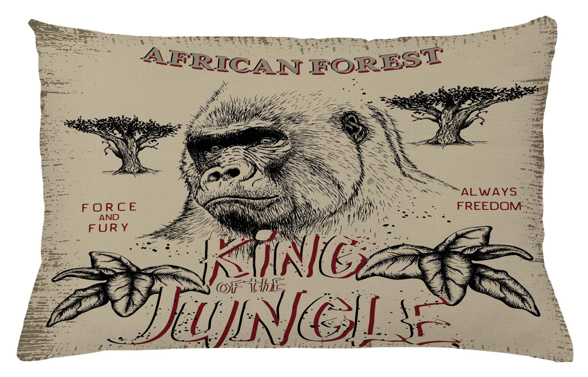 Lunarable Wild Throw Pillow Cushion Cover, Vintage Label with Gorilla King of The Jungle Safari Adventure Force Illustration, Decorative Accent Pillow Case, 26 W X 16 L Inches, Tan and Grey