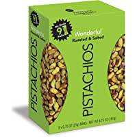 Wonderful Pistachios No Shells, Roasted & Salted, 0.75 Oz Bag (Pack Of 9)