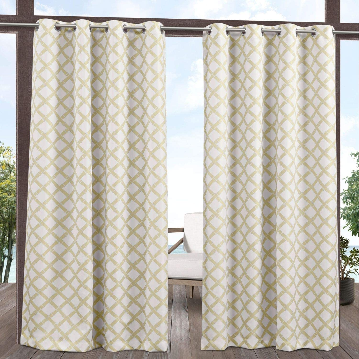 Exclusive Home Curtains Bamboo Trellis Indoor/Outdoor Light Filtering Grommet Top Curtain Panel Pair, 54x84, Khaki/Ivory