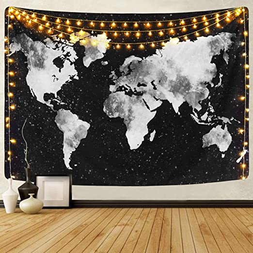 51.2 x 59.1 inches Sevenstars Starry World Map Tapestry Black and White World Map Tapestry for Room