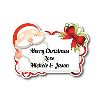 50 x 5cm personalised santa christmas tag stickers address labels