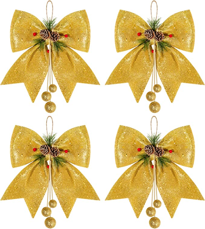 10//24X CHRISTMAS TREE BOW Glitter Bow Decoration Baubles Xmas Party Ornament