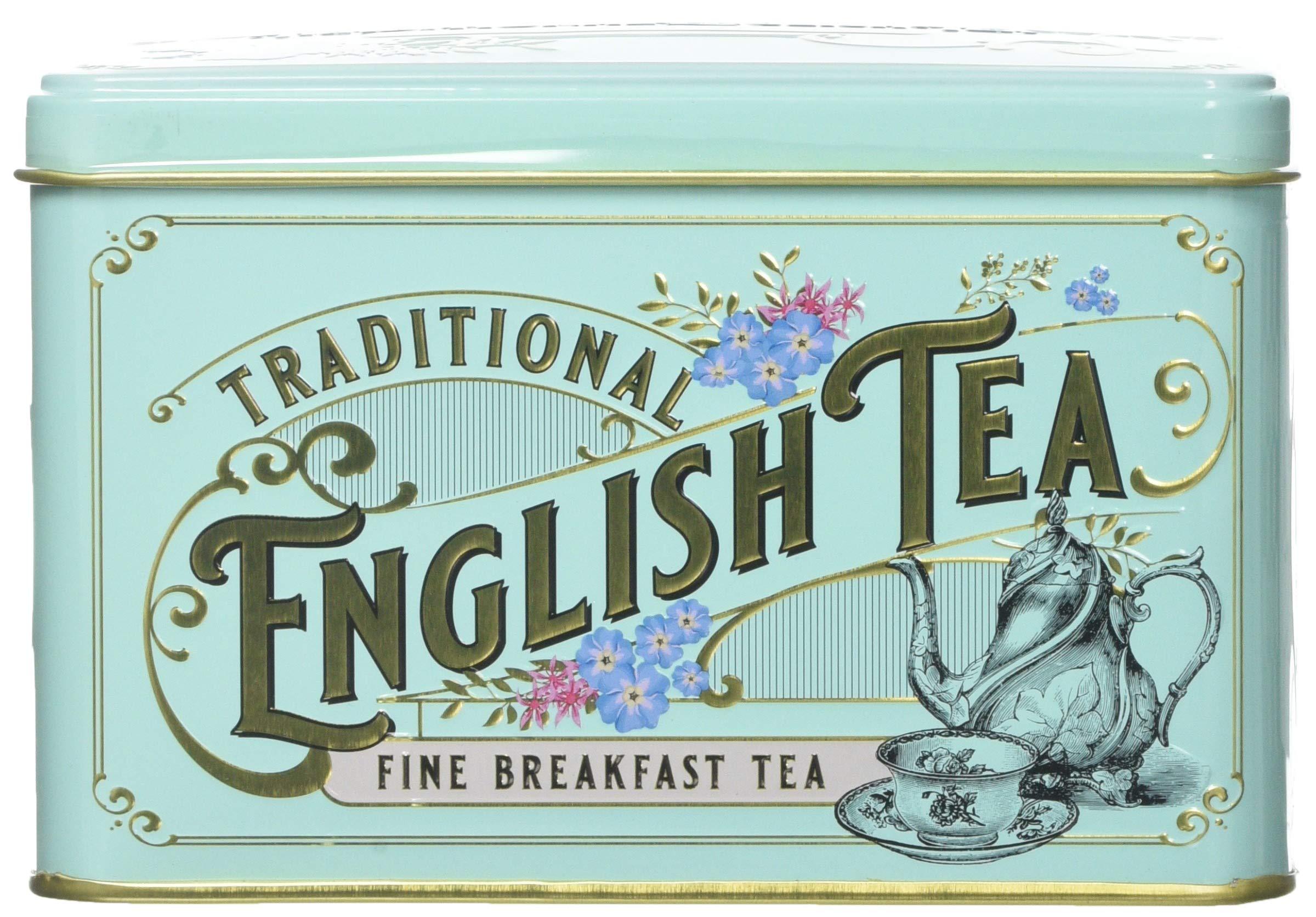 New English Teas Vintage Victorian Tea Tin with 40 English Breakfast teabags