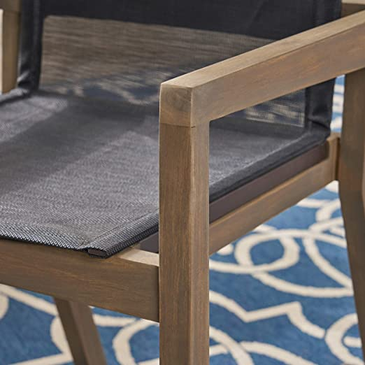 Set of 2 Christopher Knight Home 305156 Jimmy Outdoor Acacia Wood and Mesh Dining Chairs Gray Finish