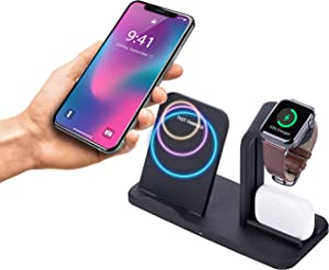 3 in 1 Wireless Charging Station for Multiple Devices Apple Watch, iPhone, Airpods – Apple Docking Station – Detachable Qi Wireless Charger Stand 3 in 1 Compatible with iPhone XR X XS Max 8 Plus
