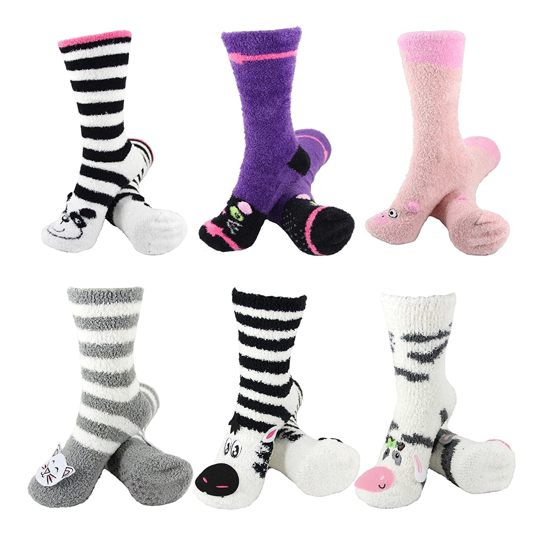 6 Pairs Value Pack Super Soft Warm Cute Animal Non-Slip Fuzzy Cozy Crew Winter Home Socks