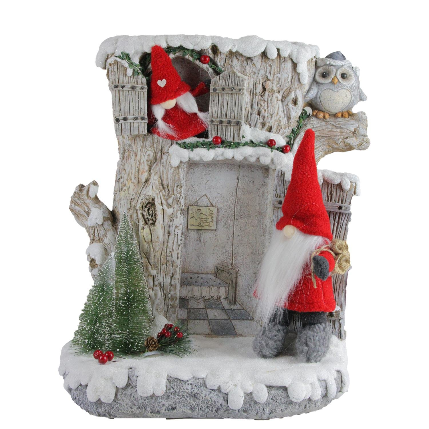 Northlight 17.5'' LED Lighted Woodland House with Red Plush Gnome Couple Christmas Decoration