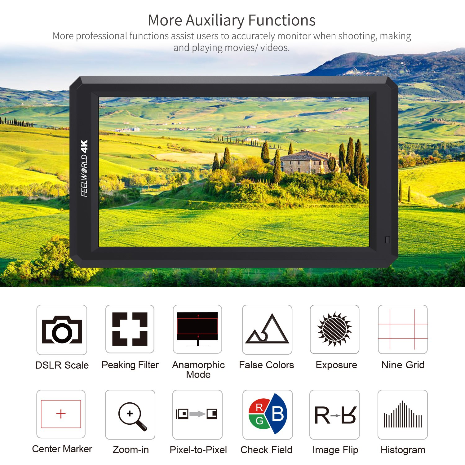 FEELWORLD F6 5.7Inch FHD IPS On Camera 4K HDMI Monitor with Swivel Arm and 8V DC Power Output F550 Battery Included Kit(Upgraded firmware) by FEELWORLD (Image #2)