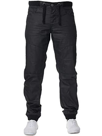 72555bd6d93 Enzo New Mens Cuffed Denim Joggers Jeans Black Fashion All Big King Sizes  at Amazon Men s Clothing store