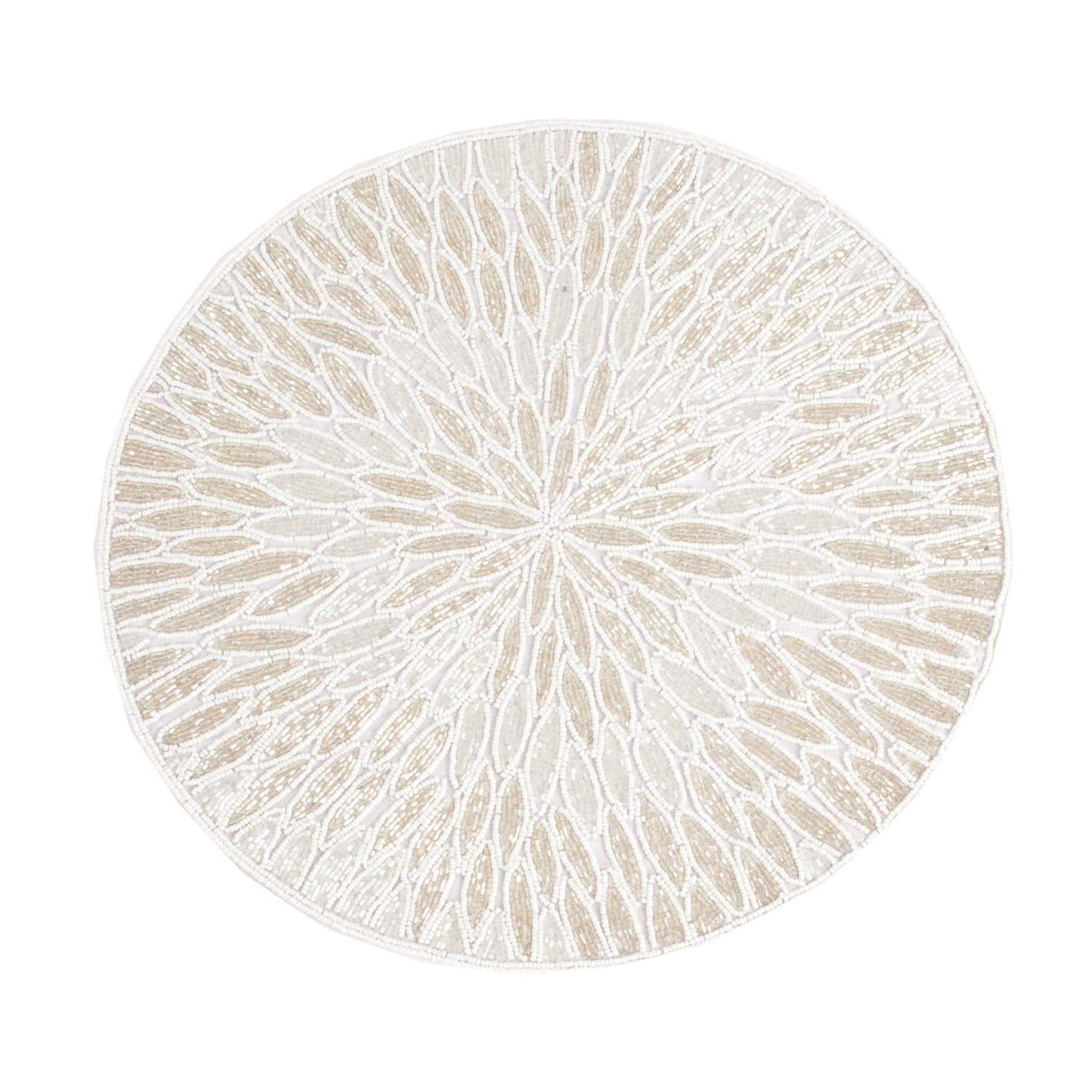 White Beaded Design Placemat 15'' Round , (4 Piece Set) by Occasion Gallery