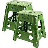 Lantelme 2 St. Set Klapphocker - Hocker aus Kunststoff Farbe grün, Wetterfest. Sitzhocker für Haushalt, Garten und Camping