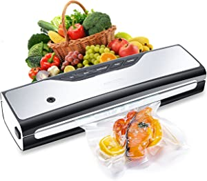 AMASOO Vacuum Sealer Machine,Automatic Smart Food Saver Sous Vide Heat Seal,Dry&Moist Food Modes,One-Touch Operation,LED Indicator Lights,Starter Kit with Roll,Bags and Hose,Safety Certified (Silver)