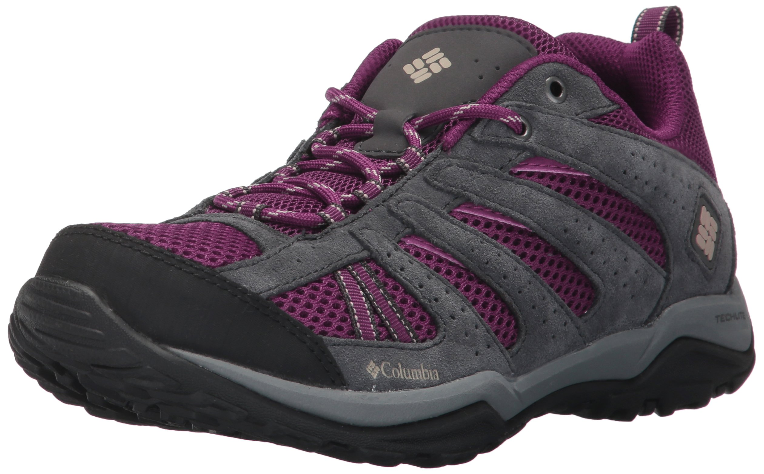 Columbia Women's Dakota Drifter Hiking Shoe, Dark Raspberry, Ancient Fossil, 5 B US