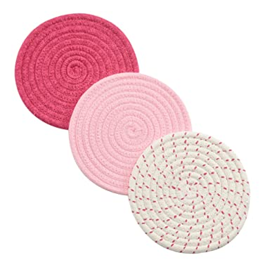 Kitchen Potholders Set Trivets Set 100% Pure Cotton Thread Weave Hot Pot Holders Set (Set of 3) Stylish Coasters, Hot Pads, Hot Mats, Spoon Rest For Cooking and Baking by Diameter 7 Inches (Pink)