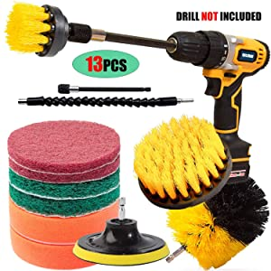 Qilerui Drill Power Brush Scrubber Cleaning Brush,13Pack All Purpose Bathroom Surfaces Shower Tile,Grout,Floor,Kitchen Surface,Spin Brush with 2 Pieces Extension Attachment