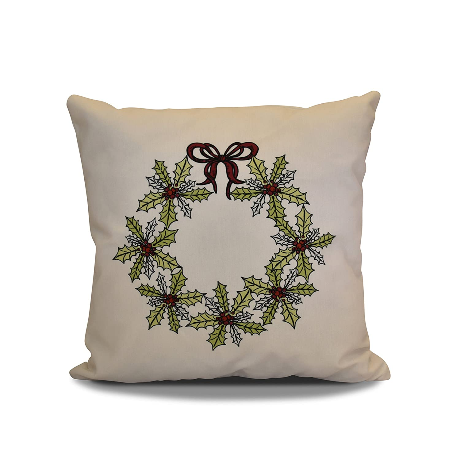 Green Decorative Holiday Pillow Floral Print E by design PHFN674GR10RE6-18 18 x 18 inch