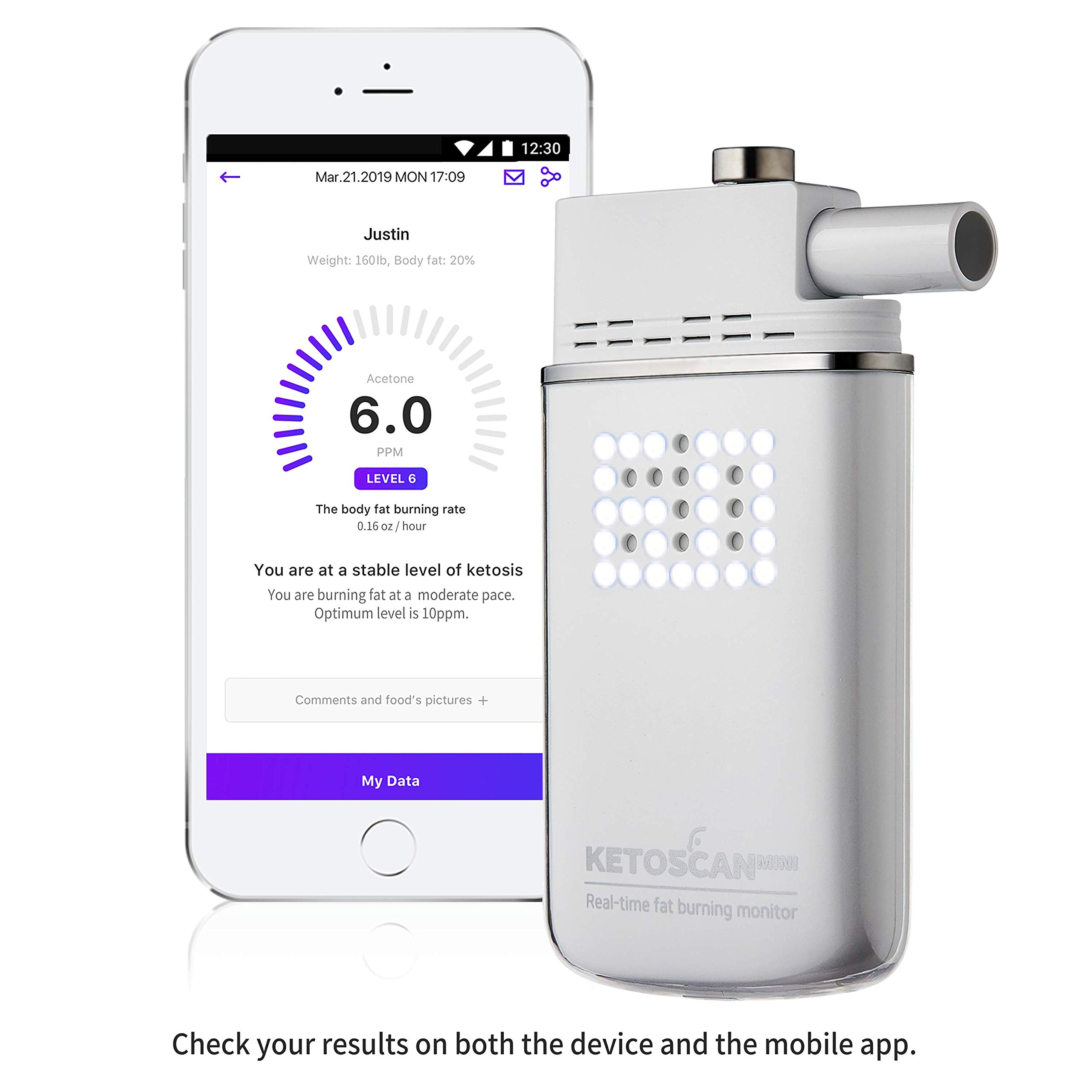 [Upgraded V2] KETOSCAN Mini Breath Ketone Meter | FDA Class 1 Approved | Monitor Your Fat Metabolism or Level of Ketosis on Low carb, Ketogenic, Paleo Diet or Any Nutrition and Fitness Program by KETOSCAN