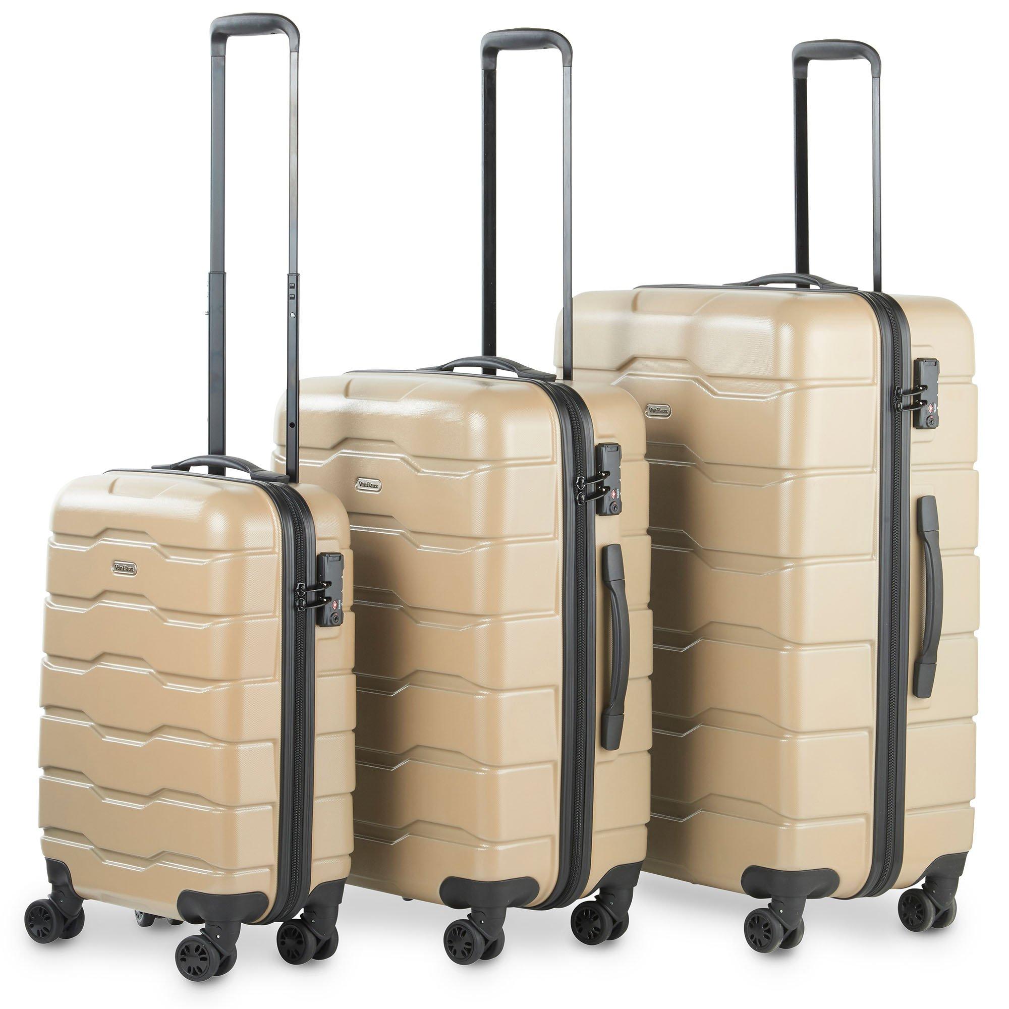 VonHaus Premium 3 Piece Lightweight Luggage Set – Hardshell Travel Suitcase with TSA Integrated Lock, 4 Double Spinner Wheels - Cabin Bag, Medium and Large Case