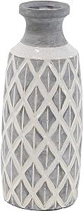 Deco 79 85140 Ceramic Vase, Gray/White