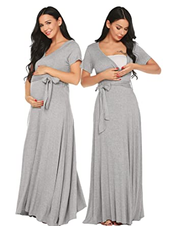 e8c4fa5e7f5 Ekouaer Maxi Nightgown Dress Solid V Neck Short Sleeve Plus Size Maternity  Pregnancy Clothes(Grey