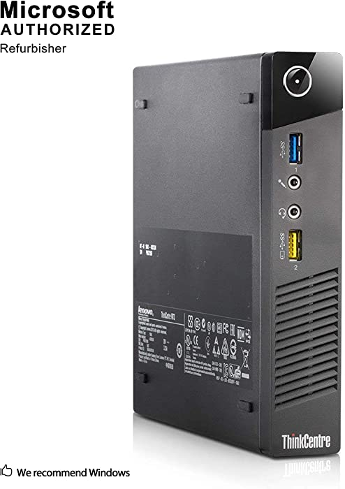 Lenovo ThinkCentre M73 Tiny Business Desktop Computer, Intel Core i3 4130T 2.9GHz, 4G DDR3, 500G, WiFi, USB 3.0, VGA, DisplayPort, Win 10 64-Bit Supports English/Spanish/French(I3)(Renewed)