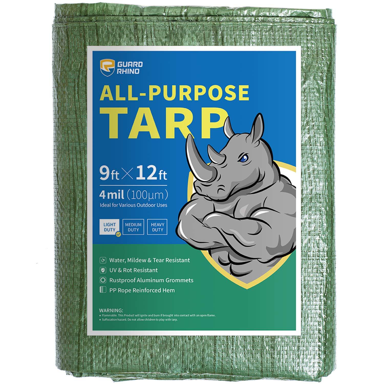GUARD RHINO Tarp 9x12 Feet Green Multi Purpose Waterproof Poly Tarp Cover 4mil by GUARD RHINO