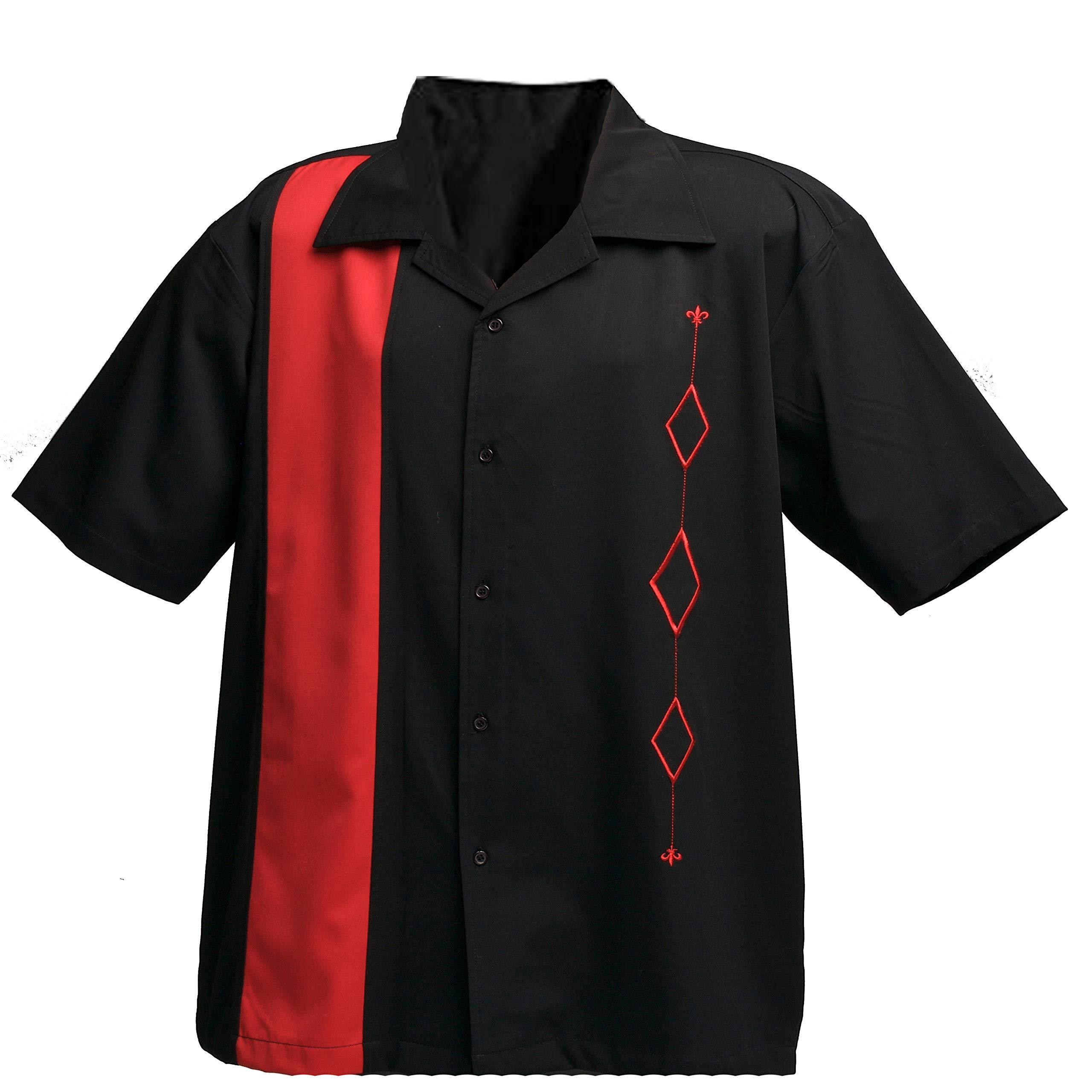 Designs by Attila Mens Retro Bowling Shirt, Red & Black, Size Medium