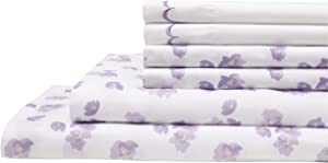 Elite Home Products Inc. Spring Meadow Microfiber Print Embroidered Bed Sheet Set, Lilac, King