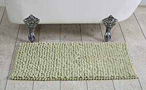 """Better Trends Chenille Rocks Collection is Ultra Soft, Plush and Absorbent Tufted Bath Mat Rug 100 Percent Cotton in Vibrant Colors, 24"""" x 36"""" Rectangle, Sage"""