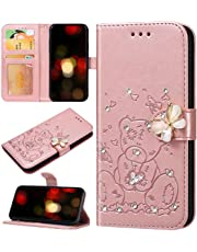 Robinsoni Custodia Compatibile con iPhone 7 Case Portafoglio Cover Farfalla Stampato Libro Cover Pelle PU Antiurto Case Diamante in Rilievo Cover Libretto Cartone Orso Case Folio Flip Cover