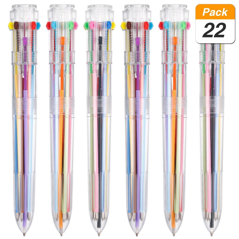 22 Pezzi Penna Multicolore 10-in-1 Penne a Sfera Retrattili Trasparente Barile Colorato Retrattile Shuttle Penne per Fornitura di Ufficio Scuola Regalo dei Bambini degli Studenti Jovitec