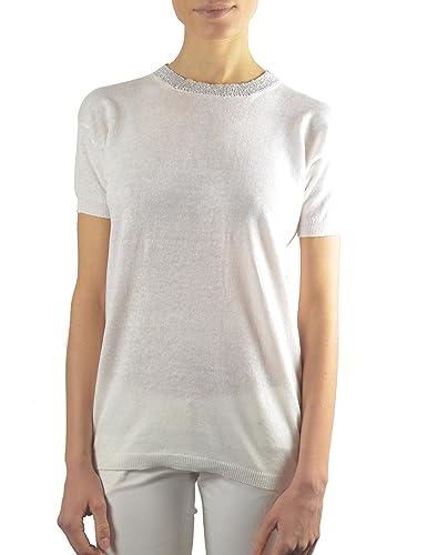 Annalisa Bucci Cashmere 17d15601, Maglione Donna, Bianco (Bianco/Lurex), 44 (Taglia Produttore:44)