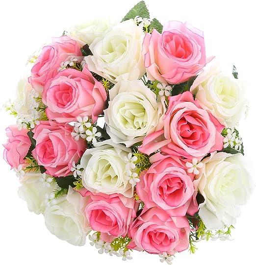 1 Bouquet 14 Head Vivid Rose Artificial Flowers Simulation Silk Flower Party