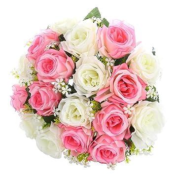 Fleurs Artificielles Roses De Melange De Couleurs Blanc Et Rose