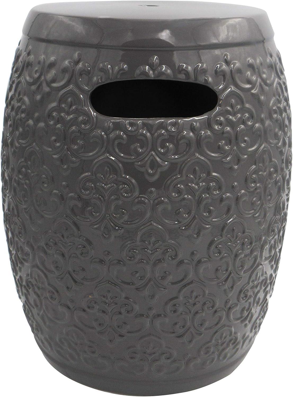 Amazon Brand – Ravenna Home Damask-Pattern Ceramic Garden Stool or Side Table, 16