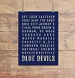 Duke Blue Devils Print - Duke University Blue Devil - Subway Poster, Boyfriend Gift, Husband Gift, Wall Art, Train Scroll, Bus Scroll, Word Art, Typography