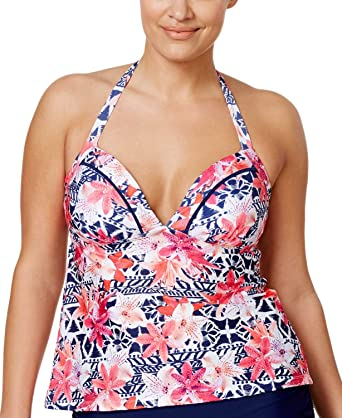 fc8b840c56d Island Escape Women s Plus Size Como La Flor Underwire Printed Halter  Tankini Top (16