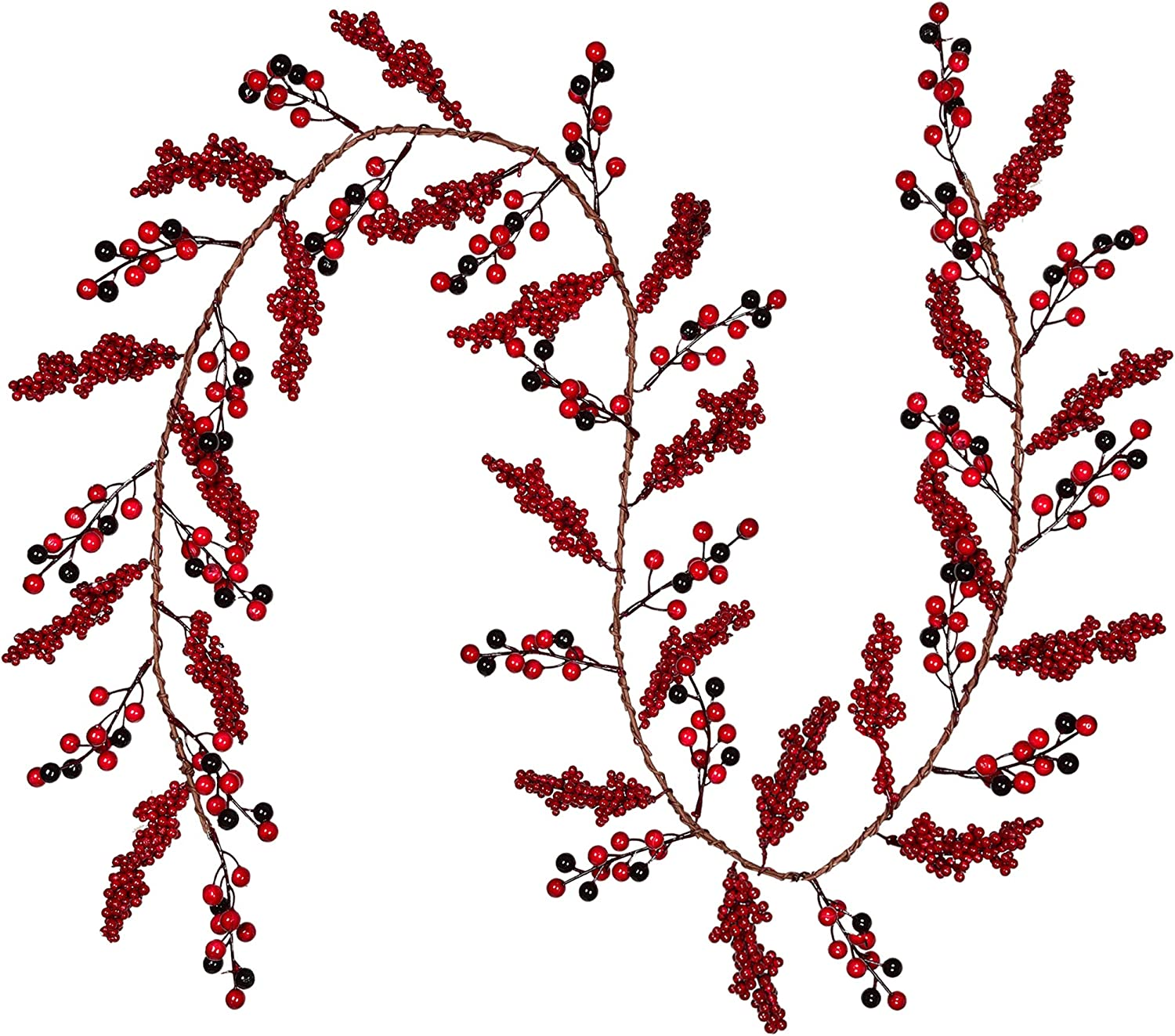 DearHouse 6Ft Red Berry Christmas Garland, Berry Twig Garland Wired Stems with Bulk Assorted Large Berries and Berry Clusters Rustic Artificial Hanging Garland String for Holiday Winter New Year Decor