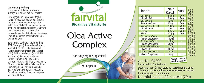 Olea activo Complex - durante 45 días - VEGANO - 90 Cápsulas - combinación de vitaminas B, ácido fólico, de hoja de olivo, Schisandra, granada y OPC: ...
