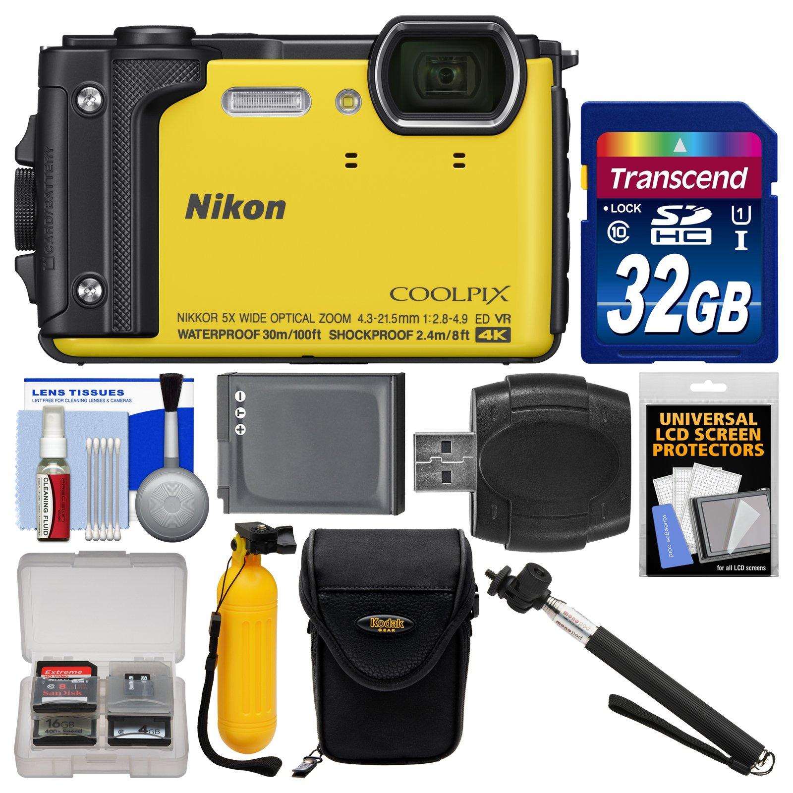 Nikon Coolpix W300 4K Wi-Fi Shock & Waterproof Digital Camera (Yellow) with 32GB Card + Case + Battery + Monopod + Floating Handle + Kit