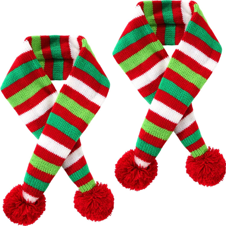 Blulu 2 Stü ck Weihnachten Haustier Stricken Schal Hund Winter Gestreiften Schals Weihnachten Haustier Kostü m Zubehö r