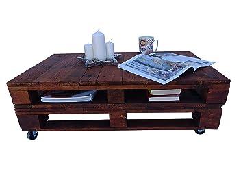 Mesita de Madera de Palet Estilo Rustico/Vintage Tomar Caffe, Soporte de TV, Escritorio, Muebles De Palets (Nogal)