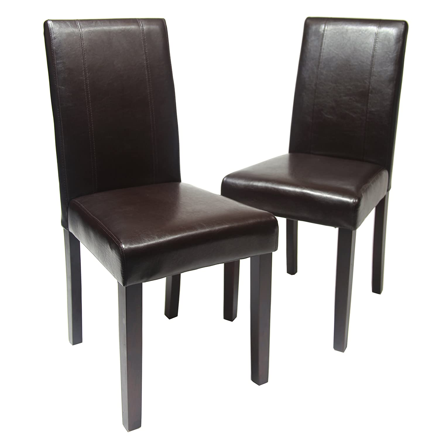 Amazon.com   Roundhill Furniture Urban Style Solid Wood Leatherette Padded Parson  Chair, Brown, Set Of 2   Chairs