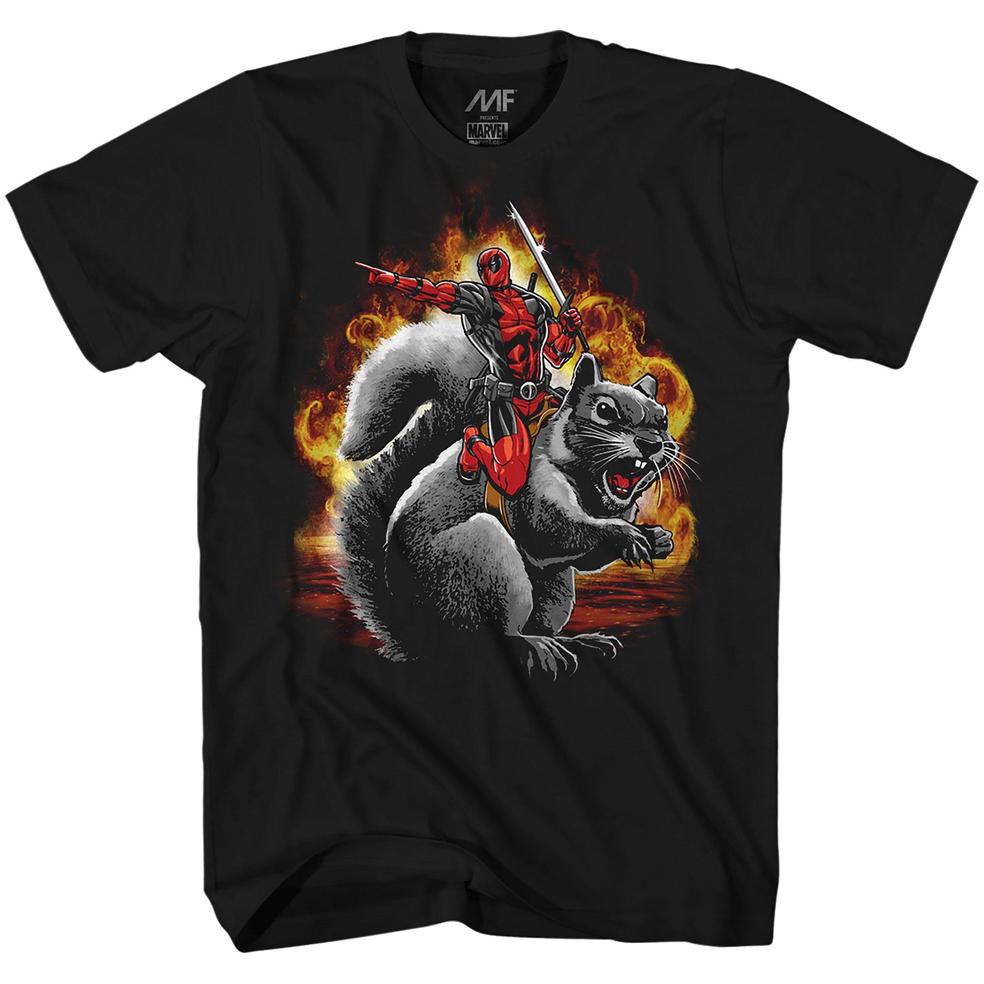 Marvel Deadpool Squirrel Wrangler Funny Adult S Graphic Tshirt