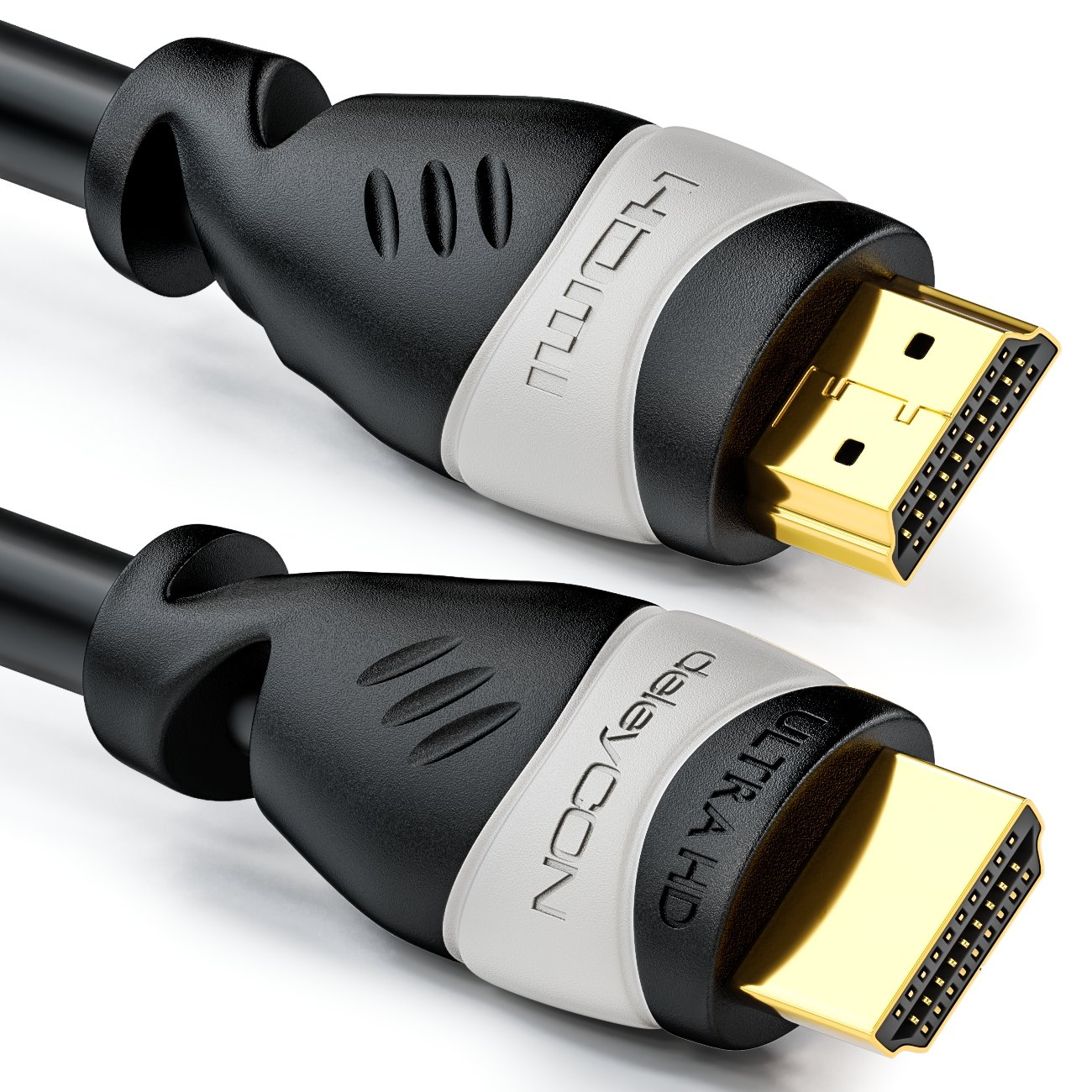 deleyCON 5m Cable HDMI - Compatible con HDMI 2.0a/b/1.4a UHD Ultra HD 4K HDR 3D 1080p 2160p ARC TV LED Proyector PC OLED - Negro Gris
