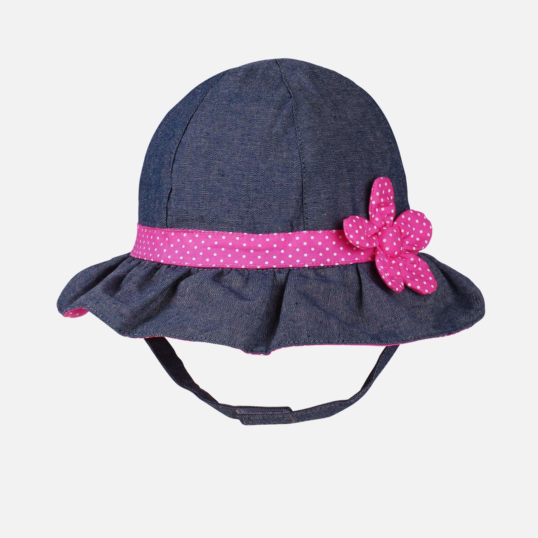 Toddler Baby Girls Denim Sun Hats with Chin Strap Kid Summer Cotton Sunhat Polka Dot Caps by HUIXIANG (Image #2)