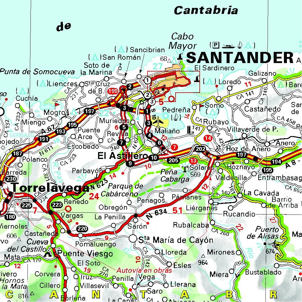 Mapa De Asturias Y Cantabria Juntos.Mapa Regional Asturias Cantabria Carte Regionali Amazon