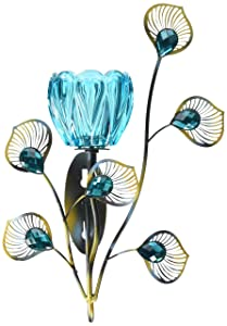 Zings & Thingz 57073537 Peacock Flower Wall Sconce, Blue