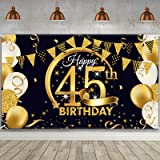 Birthday Party Decoration Extra Large Fabric Black Gold Sign Poster for Anniversary Photo Booth Backdrop Background Banner, B