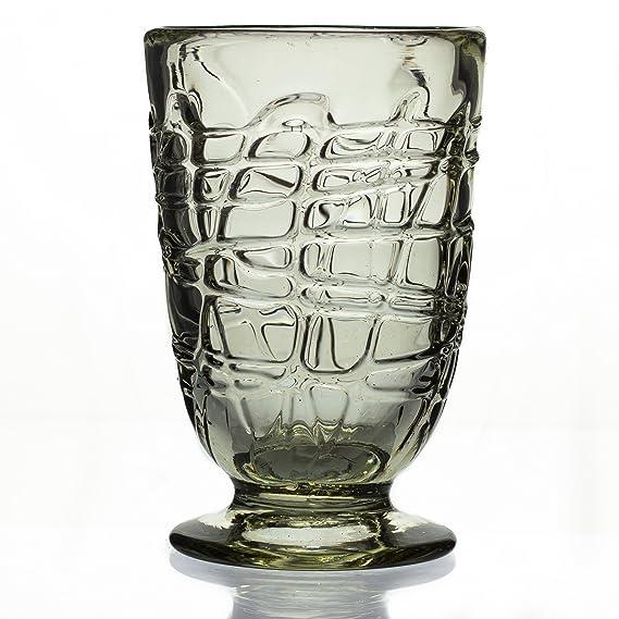 Cónica de cristal con base, Loco, mano soplado de vidrio reciclado - disponible por separado y como un conjunto de 2 ó 6 - comercio justo y hecho a mano en ...